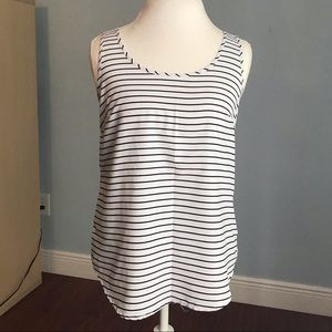 NWOT Faded Glory Black & White Striped Tank Size S